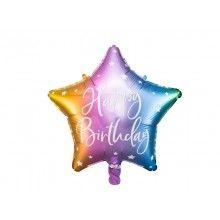 Folieballon 40cm Happy Birthday mix met sterren