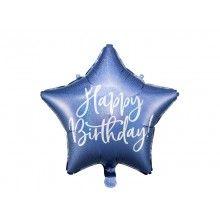 Folieballon 40cm Happy Birthday! holografisch blauw en zilver