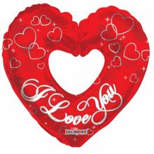 Folieballon 91cm I Love You rood hart