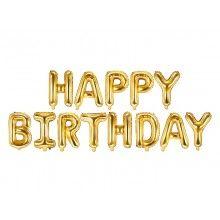 Folieballon letterslinger Happy Birthday goud 340 x 35cm
