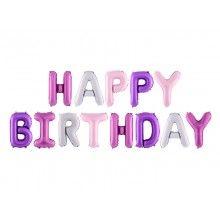 Folieballon letterslinger Happy Birthday mix, 340 x 35cm