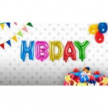 Folieballon letterslinger HBDAY multicolor, 35 x 120cm