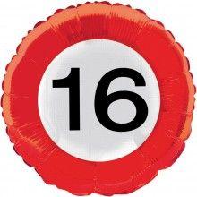 Folieballon 45cm verkeersbord 16 jaar