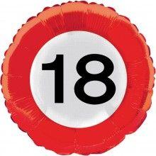 Folieballon 45cm verkeersbord 18 jaar