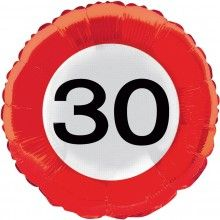 Folieballon 45cm verkeersbord 30 jaar