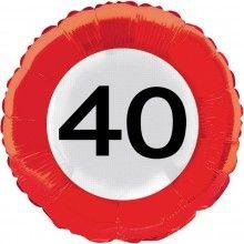 Folieballon 45cm verkeersbord 40 jaar