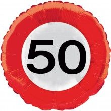 Folieballon 45cm verkeersbord 50 jaar