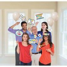 Foto props Happy Birthday met leeftijdsstickers, 13 delig