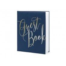"""Gastenboek navy blauw met metallic goud opschrift """"Guest Book"""""""