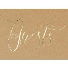 """Gastenboek kraft met gouden opschrift """"Guests"""""""