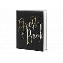 """Gastenboek zwart met metallic goud opschrift """"Guest Book"""""""