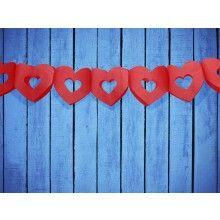 Papieren slinger dubbel hart rood, 3 meter