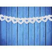 Papieren slinger dubbel hart wit, 3 meter
