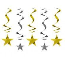 Hangdecoratie spiraal goud/zilver met sterren, 5 stuks