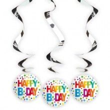 Hangdecoratie Happy B day stippen, 3 stuks