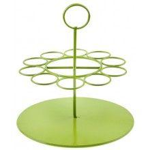 Decoratieve metalen houder voor glazen buisjes groen rond, diameter 14cm