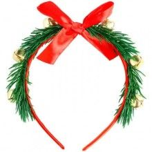 Kerst tiara met rode strik en belletjes, per stuk