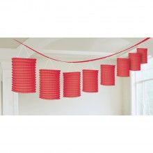 Lampion slinger rood met 8 lampionnen , lengte 3.6 mtr
