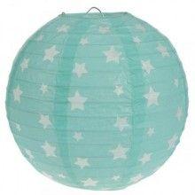 Lampion 20cm mint groen met witte sterren, 2 stuks
