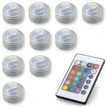 LED verlichting RGB met afstandsbediening, set 10 stuks
