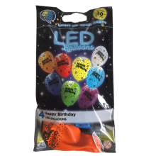 LED ballonnen Happy Birthday mix, 4 stuks