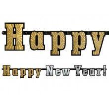 Letterslinger Happy Newyear! goud zilver glitter