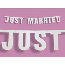 Letterslinger Just Married wit glitter, 1.7 meter