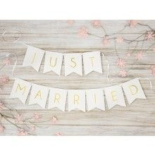 Letterslinger Just Married wit, 155cm