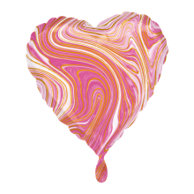 Folieballon hart 43cm roze marble, per stuk