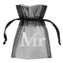 Organza zakje zwart met opdruk Mr, 10 stuks