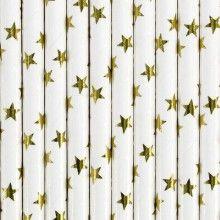 Papieren rietjes ster goud, 10 stuks