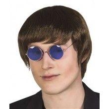 Partybril hippie John blauw, per stuk