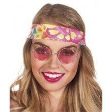 Partybril hippie John roze, per stuk