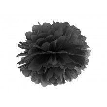 Pompom zwart 35cm, per stuk