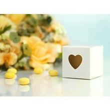 Bedankdoosje wit vierkant met uitgesneden hartje, 10 stuks