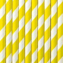 Papieren rietjes twist geel, 10 stuks
