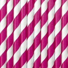 Papieren rietjes twist roze, 10 stuks