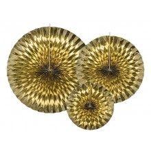 Papieren waaier goud metallic effen, 3 stuks