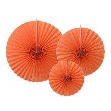 Papieren waaier oranje, 3 stuks
