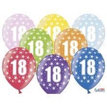 Leeftijd ballonnen 18 jaar mix metallic, 6 stuks