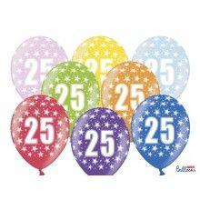 Leeftijd ballonnen 25 jaar mix metallic, 6 stuks