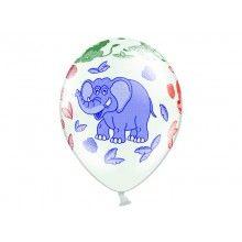 Ballonnen dierentuin wit, 6 stuks