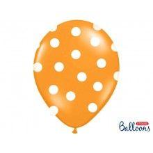 Ballonnen 30cm oranje met witte stippen, 6 stuks
