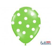 Ballonnen 30cm groen met witte stippen, 6 stuks