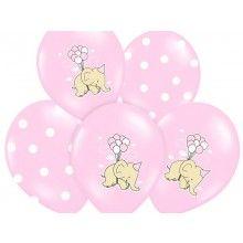 Ballonnen olifantje met stippen roze, 6 stuks