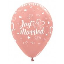 Sempertex ballonnen 30cm rose gold metallic Just Married, 25 stuks