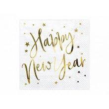 Servetten 33 x 33 Happy New Year wit goud met sterren, 20 stuks