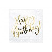 Servetten Happy Birthday wit goud metallic, 20 stuks