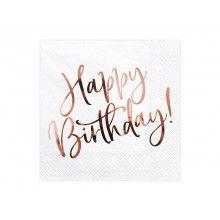 Servetten Happy Birthday wit rose gold metallic, 20 stuks