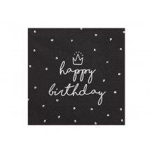 Servetten Happy Birthday zwart, 20 stuks